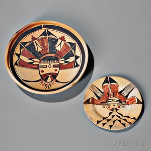 Two Hopi Polychrome Kachina Face Plates