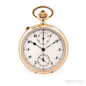 Lugrin Watch Co. 14kt Gold Split-second Chronograph