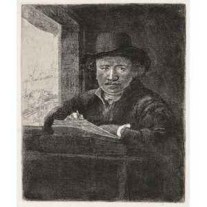 Rembrandt Harmensz van Rijn (Dutch, 1606-1669)      Self Portrait Drawing at a Window