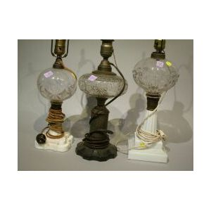 Three Glass Whale Oil Lamps.