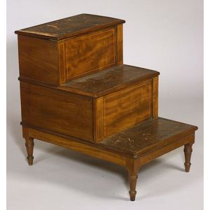 Set of Georgian Mahogany and Inset Gilt-tooled Leather Bedside Steps.