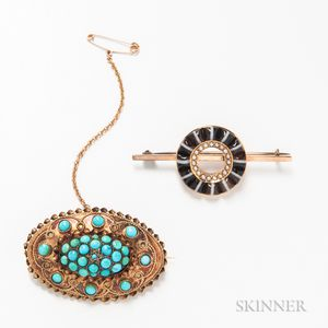 15kt Gold and Turquoise Brooch and a 14kt Gold and Banded Agate Brooch