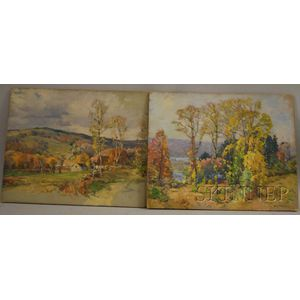 William Jurian Kaula (American, 1871-1953)      Lot of Two Unframed Landscapes: Elm Trees, Autumn