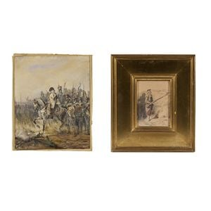 Two 19th Century French Watercolors: Jean-Louis David (French, 1792-1868...