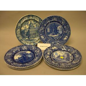Eight Staffordshire Blue and White Transfer Decorated Plates