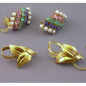 Pair of 14kt Gold, Pearl, and Gem-set Earrings and a Pair of 14kt Gold Leaf Earrings.