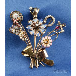 14kt Gold, Enamel and Gem-set Stickpin Brooch