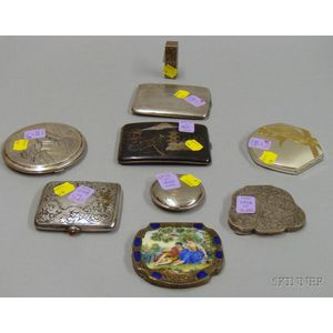 Nine Sterling,  .850, and .800 Silver Compacts and Cases