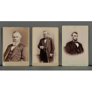 Lincoln, Abraham (1809-1865); Ulysses S. Grant (1822-1885); and Rutherford B. Hayes (1822-1893): Cartes-de-Visite.