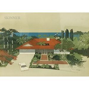 Carlos Diniz (Arizona, 1928-2001)    Three Screenprints After Architectural Renderings