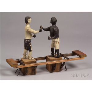 Carved and Painted Wood and Metal Boxing Men Toy