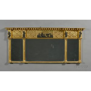 Neoclassical Gilt Gesso and Black -painted Overmantel Mirror