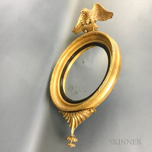Pair of Federal Carved and Gilt-gesso Convex Mirrors