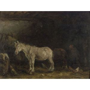 Manner of Constant Troyon (French, 1810-1865)    In the Stable