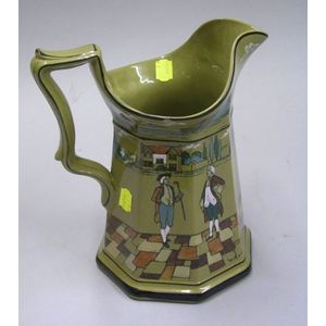 """Large 1908 Buffalo Pottery Deldare Ware """"This Amazed me, With a cane superior air.""""   Pitcher"""