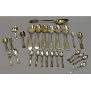 Approximately Twenty-five Pieces of Sterling Silver and Silver Plated Flatware