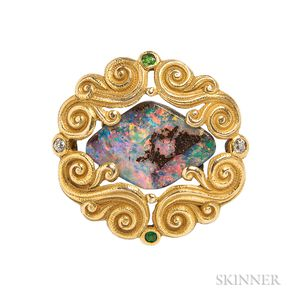 Art Nouveau 14kt Gold and Opal Brooch