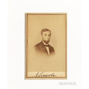 Lincoln, Abraham (1809-1865) Signed Carte-de-visite.