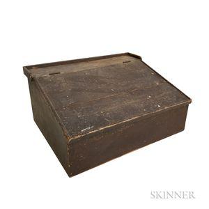 Brown-painted Pine Slant-lid Table-top Desk