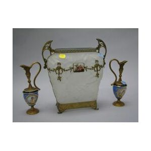 French Gilt-metal Mounted Art Glass Vase and a Pair of Gilt-metal Mounted Porcelain Ewers.