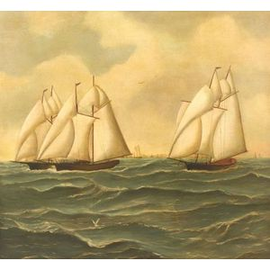 American School, 19th Century  Famous Race of the Dauntless, Vespa, and Coronet off Newport, Rhode Island.