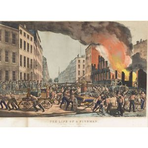 """Nathaniel Currier, publisher (American, 1813-1888)  The Life of a Fireman.  The Ruins.- """"Take Up.""""- """"Man Your Rope."""""""