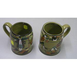 """Two 1908 Buffalo Pottery Deldare Ware """"Ye Lion Inn"""" Mugs"""