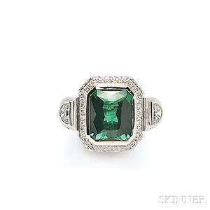 18kt White Gold, Green Tourmaline, and Diamond Ring, Sam Lehr