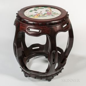 Enameled Porcelain-top Wood Stool