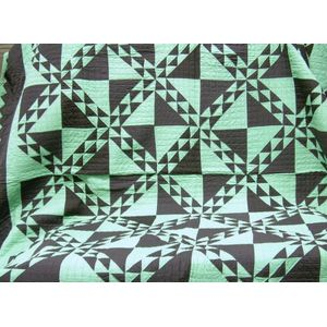 Green and Black Pieced Cotton Geometric Design Quilt