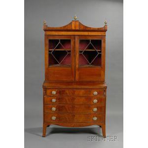 Federal Mahogany Inlaid Glazed Desk Bookcase