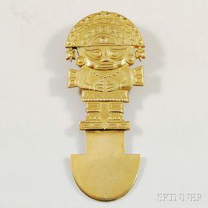 18kt Gold Aztec-style Pendant