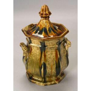 Bennington Flint Enamel Pottery Covered Sugar, 1849-58, marked on base, ht. 10 in.
