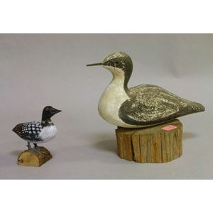 Carved and Painted Wooden Shorebird and a Small Duck
