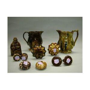 Group of Rockingham and Bennington Glazed Pottery Items