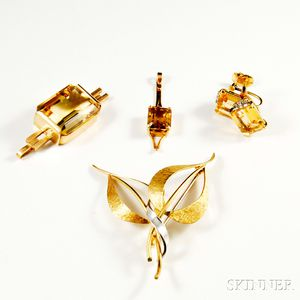 Four Pieces of Gold and Citrine Jewelry