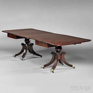 Classical Mahogany Carved Two-part Dining Table