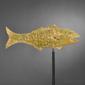 Gilt Molded Copper Cod Weathervane