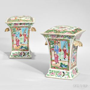 Pair of Rose Mandarin Boughpots and Covers
