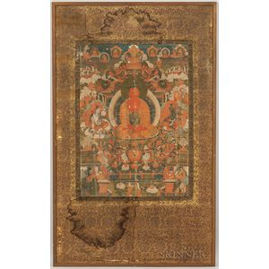 Thangka Depicting Amitabha Buddha in Sukhavati