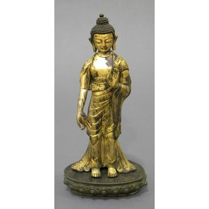 Parcel-gilt Bronze Figure of Buddha