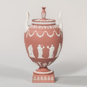 Modern Wedgwood Terra-cotta Jasper Vase and Cover