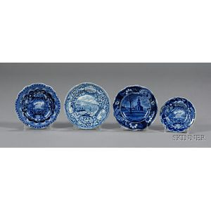 Historic Blue Transfer Decorated Cup Plates