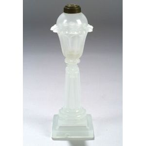 Clambroth Pressed Glass Fluid Lamp