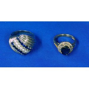10kt White Gold, Sapphire, and Seed Pearl Dome Ring and a 14kt Gold, Sapphire, and Diamond Ring.