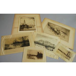 American/British School, 19th/20th Century      Lot of Six Etchings