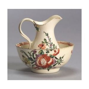 Polychrome Painted Small Creamware Bowl and Pitcher