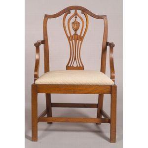 Hepplewhite Carved  Mahogany Armchair