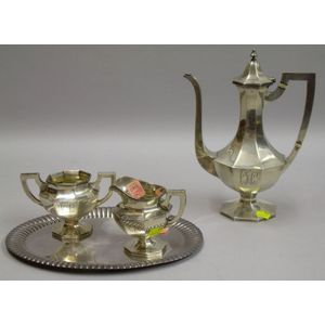 Three-piece Sterling Silver Demitasse Set and a Small Silver Plated Tray.