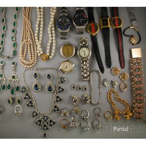 Group of Costume Jewelry and Wristwatches